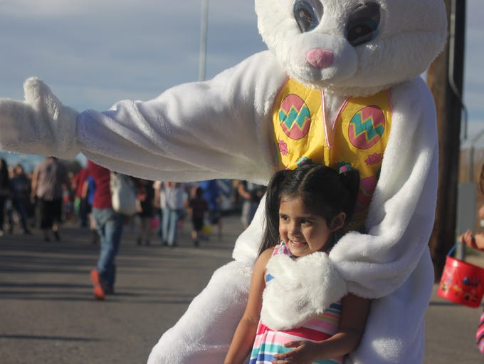 The Easter Bunny meets with local children during an