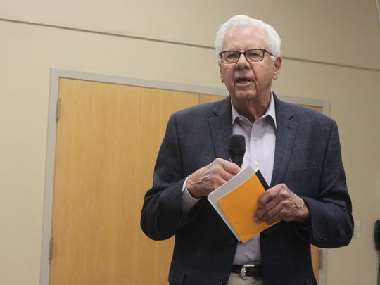 John Heaton, chair of the Eddy/Lea Energy Alliance addresses the crowd during a public forum on a proposed nuclear waste repository near Carlsbad and Hobbs, April 7, 2018 at the Carlsbad Public Library.