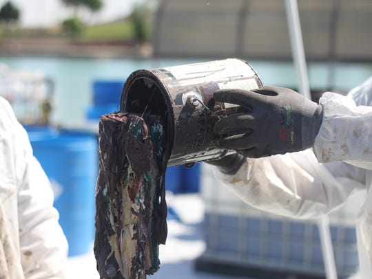 Hundreds of gallons of oil, paint and other products,