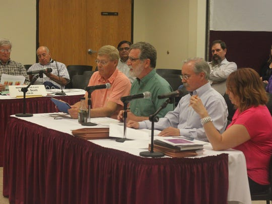 Executive Director of the National Cave and Karst Research Institute George Veni discusses the Carlsbad Brine Well before the Legislative Finance Committee, June 5, 2018 at New Mexico State University Carlsbad.