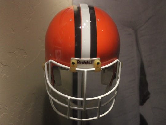 A helmet from his days as a member of the Cleveland
