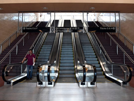 Escalators leading up into the main concourse of NJTransit's