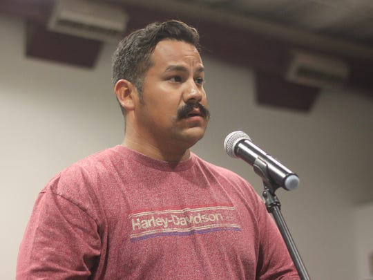 Sam Soto, a Carlsbad resident and volunteer firefighters calls on his community to support a project to improve the intersection of U.S. Highway 285 and New Mexico State Road 31.