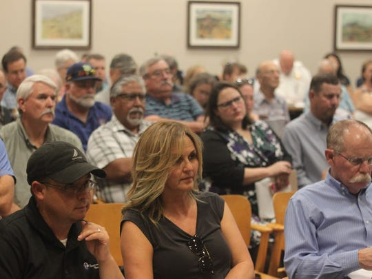 Carlsbad residents and local leaders attend a meeting of the Carlsbad Brine Well Remediation Authority, July 11, 2018 at the Carlsbad Municipal Annex.