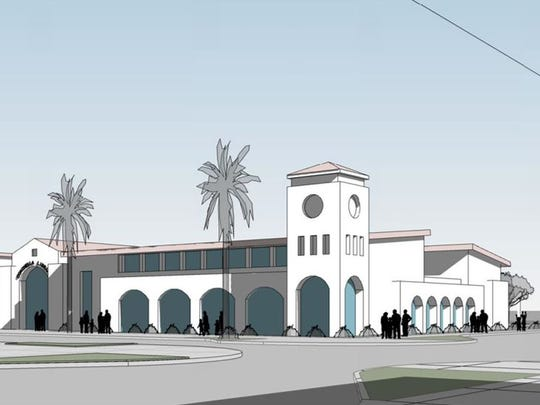 A concept drawing for the city of Coachella's new library shows the Pueblo Viejo style downtown is based off of.