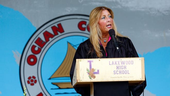 Laura Winters, Superintendent of Schools greets the Lakewood High School Class of 2018 during Commencement ceremonies at Russell E. Wright Athletic Field. June 22, 2018. Lakewood, NJ