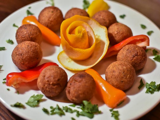 Falafel, featuring homemade croquettes of Turkish chickpeas
