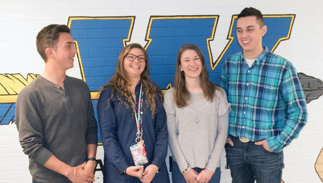 Waynesboro Area Senior High School students shared their opinions Thursday, April 5, 2018 on recent security concerns nd gun issues. From left, Noah Scahill, Megan Painter, Lindsey Frey and Skyler Richard.