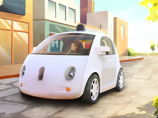 This image provided by Google shows an artistic rendering of the company's self-driving car. The two-seater won't be sold publicly, but Google said it hopes by this time next year, 100 prototypes will be on public roads.