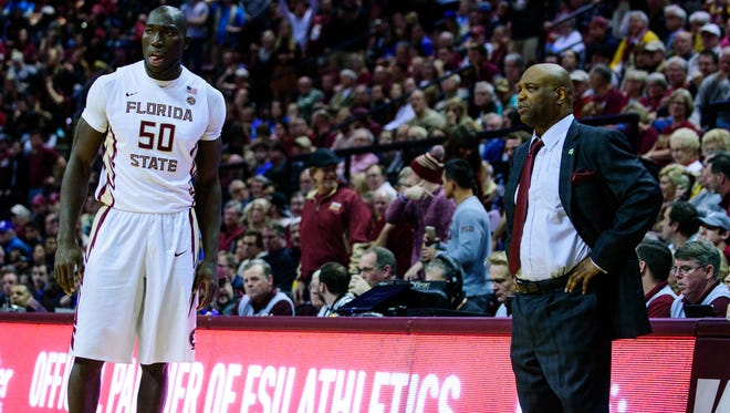 FSU Head Coach Leonard Hamilton talks to Michael Ojo (50) during the 88-72 Florida State University victory against Duke on Tues., Jan. 10, 2016 at the Donald L. Tucker Civic Center, in Tallahassee, FL.