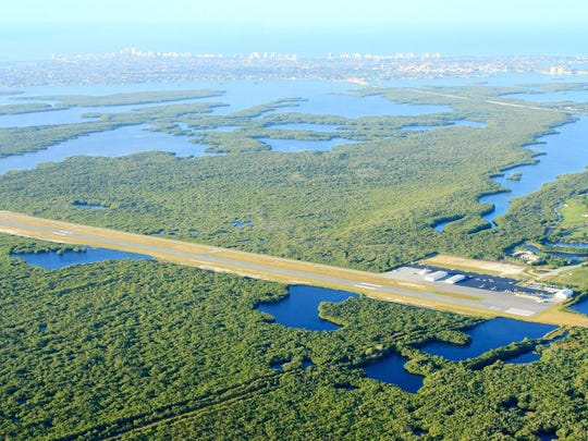 Marco Island Executive Airport as seen from the air.