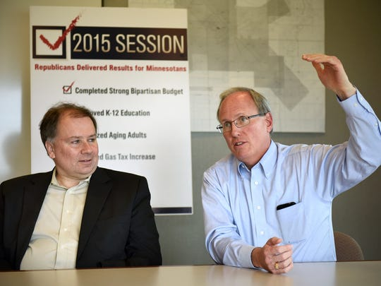 Representatives Jim Knoblach and Tim O'Driscoll talk about this year's legislative session during a press conference Wednesday at St. Cloud Regional Airport.
