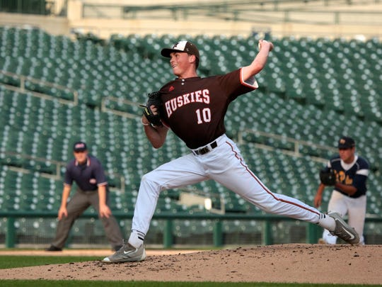 Portage Northern's Tommy Henry throws during the Michigan High School Baseball Coaches Association All-Star Game on July 6, 2016 at Comerica Park.