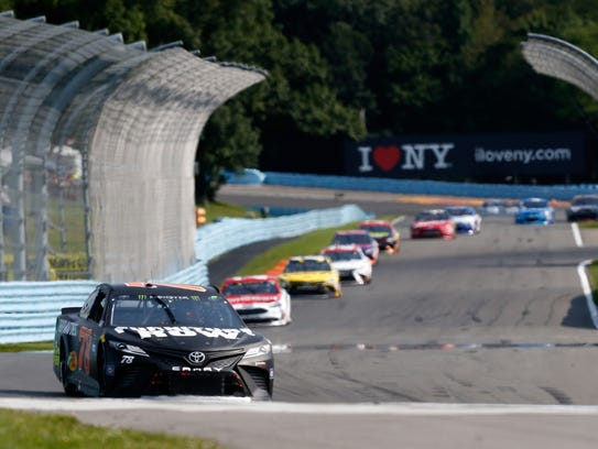 Martin Truex Jr. on his way to a win in Sunday's I