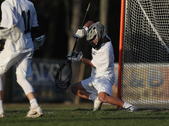 Maclay's Peter Yang guards the goal against Chiles during their game at Maclay School on Thursday, March 8, 2018.