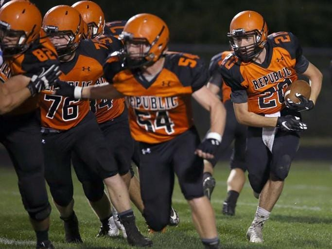 Republic running back David Feil, right, is one of several players who will carry the football for Republic Friday night at Willard in the News-Leader Game of the Week.