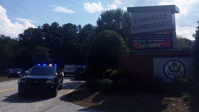 Police and emergency medical services responded to a school shooting Sept. 28, 2016, at Townville Elementary School in Townville, S.C.
