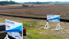 Foxconn signs are in place as work continues on the