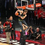 Jordan Kilganon dunks during the NBA All-Star Game as part of the 2016 NBA All-Star Weekend in Toronto.