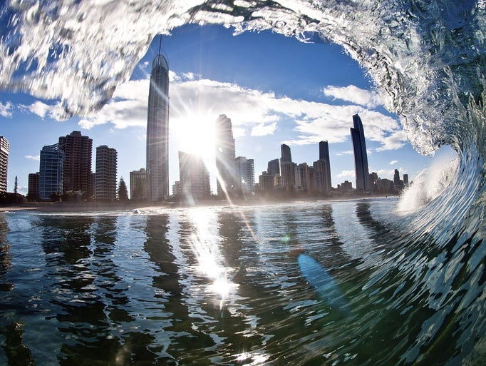 A creative photo of a skyline in Australia taken from