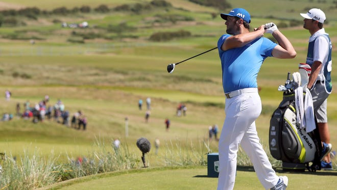 Jon Rahm hits off the eighth tee during Day 3 of the Irish Open at Portstewart Golf Club.