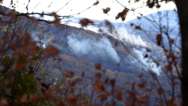 The Division of Forestry has crews working to fight several forest fires in the Sinking Creek area of Campbell County on Nov. 9, 2016.