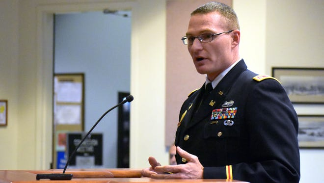 Lt. Col. James Booth, Commander and District Engineer for U.S. Army Corps of Engineer's Albuquerque District, gives the City Commission an update on the McKinley Channel Flood Project.