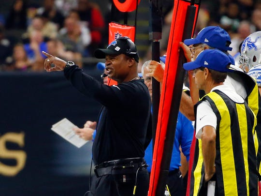 Lions coach Jim Caldwell calls out from the sideline in the first half against the Saints in New Orleans, Sunday, Oct. 15, 2017.