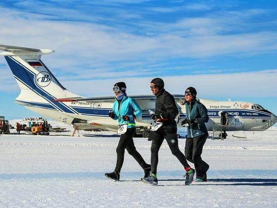 The Antarctica marathon — the first of seven — utilized