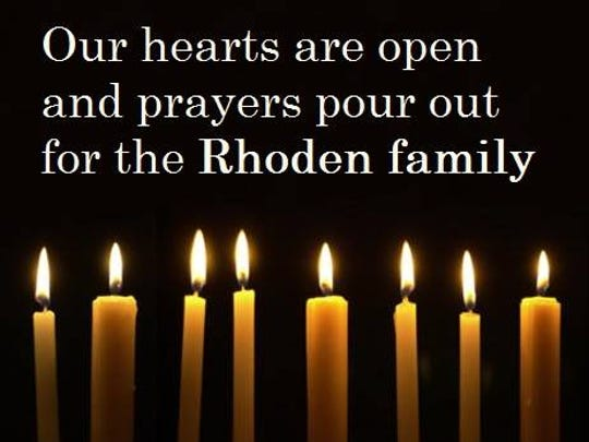 An image of support for the Rhoden family from the