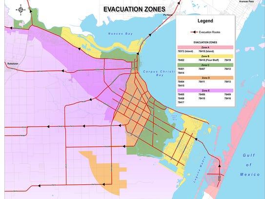 This map details evacuation zones in Corpus Christi