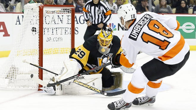 The Flyers beat the Penguins 5-3 in the first Battle of Pennsylvania this season.