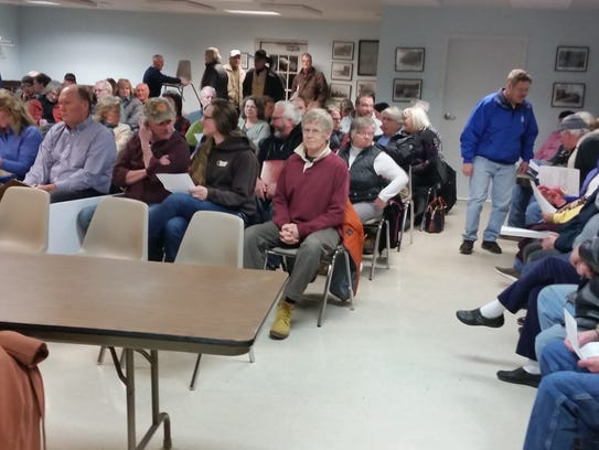 Community members pack in to discuss a proposed RV