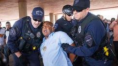 Jarrett Maupin was among a handful of demonstrators