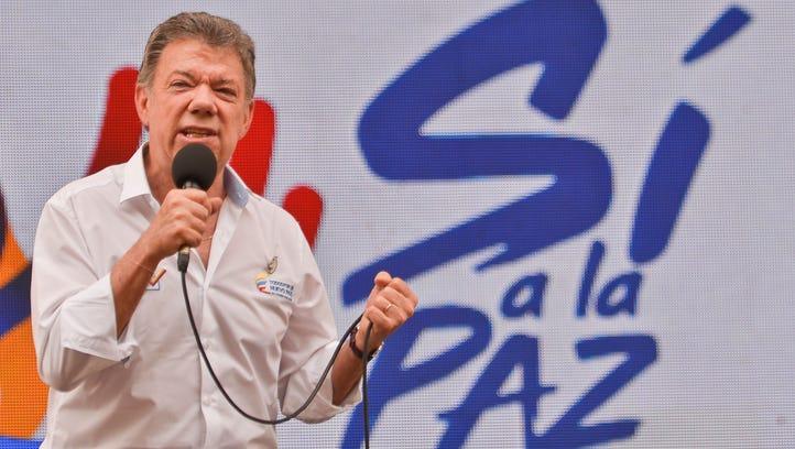 Colombian President Juan Manuel Santos speaks about