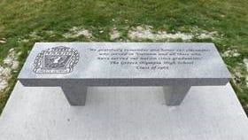 A memorial bench to honor veterans at Greece Olympia High School. The bench was provided by the Class of 1965.