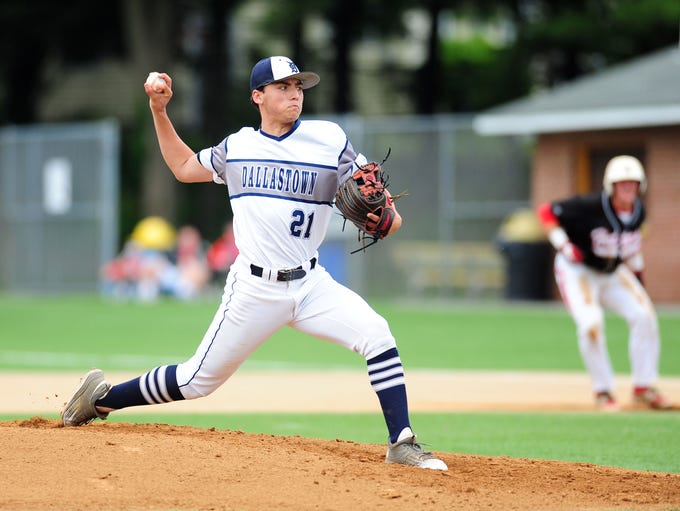 Dallastown's Nick Parker throws a pitch in the first