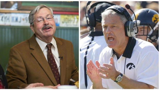Gov. Terry Branstad, left, and Iowa football coach Kirk Ferentz.