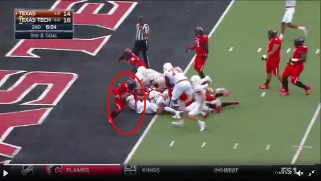 Texas Tech's Douglas Coleman returned a Texas fumble 100 yards for a touchdown.