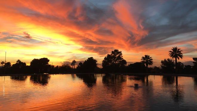 David Johnson took this sunset photo at Granada Park in Phoenix on Dec. 31, 2015.