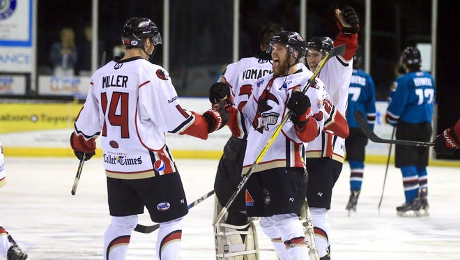IceRays' Brad Power (right) celebrates with Brendan Miller after scoring against Shreveport on Wednesday, April 19, 2017, at the American Bank Center in Corpus Christi.