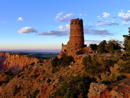 Desert View Watchtower was originally built in 1932 by architect Mary Colter in collaboration with Hopi artisans.