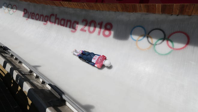 Feb 15, 2018; Pyeongchang, South Korea; Matt Antoine (USA) competes in the skeleton event during the Pyeongchang 2018 Olympic Winter Games at Olympic Sliding Centre. Mandatory Credit: Soobum Im-USA TODAY Sports