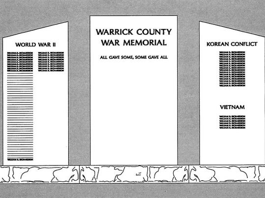Sketch of the Warrick County War Memorial, which will be on the Courthouse lawn.