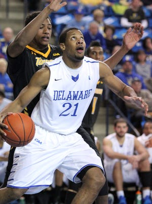 Marvin King-Davis, with 19 starts in 51 career games, will be the most experienced Blue Hen on the floor Monday.