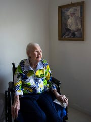 Mildred Lewis, 109, in her Estero home on Thursday,