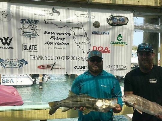 Chris Damon and Travis King took first place in Saturday's Backcountry Fishing Association tournament out of Little Jim Bridge Bait and Tackle. The pair collected  $1,150.50 for catching a 7.89-pound snook and a 5.10-pound redfish.