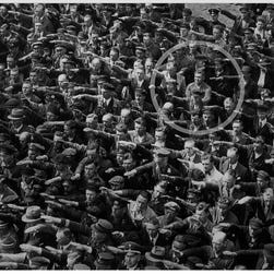August Landmesser is circled in this image seen on Wikipedia.