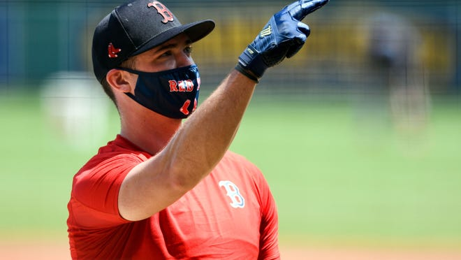 Red Sox infielder Bobby Dalbec is keeping his mask on a Fenway Park.
