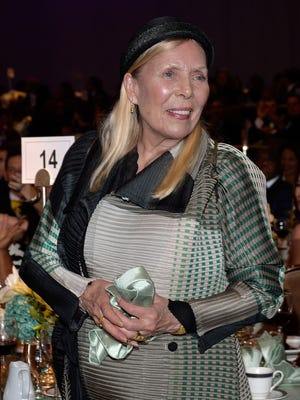 Recording artist Joni Mitchell attends the pre-Grammy Gala and Salute to Industry Icons honoring Martin Bandier at The Beverly Hilton Hotel on Feb. 7, 2015, in Los Angeles.